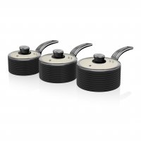 Swan Retro 3 Piece Saucepan Set Black