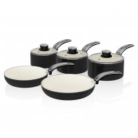 Swan Retro 5 Piece Pan Set Black