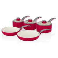 Swan Retro 5 Piece Pan Set Red