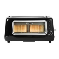 Tower 2 Slice Glass Toaster Black