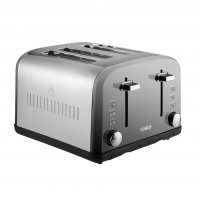 Tower 4 Slice 2 Tone Toaster Stainless Steel / Grey