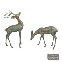 Solstice Sculptures Deer Pair Small 56&33cm Aluminium Gold Verdigris