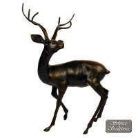 Solstice Sculptures Stag Large 109cm Aluminium Dark Bronze Effect