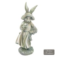 Solstice Sculptures Mrs Rabbit 52cm Antique Stone Effect