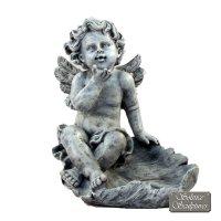 Solstice Sculptures Cherub on Leaf 33cm Antique Stone Effect