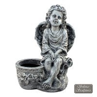 Solstice Sculptures Cherub Planter 45cm Antique Stone Effect