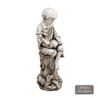Solstice Sculptures Matthew Reading Boy 88cm Antique Stone Effect