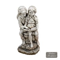 Solstice Sculptures Jack & Jill Reading 88cm Antique Stone Effect