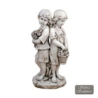 Solstice Sculptures Jack & Jill Standing 89cm Antique Stone Effect
