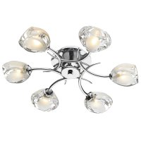 Dar Zagreb 6 Light Semi Flush Ceiling Light Polished Chrome