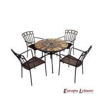 Europa Leisure Granada Patio Table & 4 Malaga Chairs Set