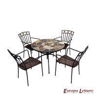 Europa Leisure Pomino 91cm Patio Table with 4 Malaga Chair Set