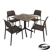 Nardi High Range Clip Table with 4 Bora Chair Set Anthracite