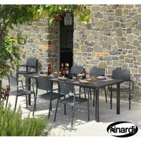 Nardi High Range Libeccio Table with 6 Bora Chair Set Anthracite