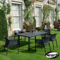 Nardi High Range Libeccio Table with 6 Net Chair Set Anthracite
