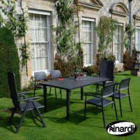 Nardi High Range Libeccio Table with 2 Darsena & 4 Bora Chair Set Anthracite