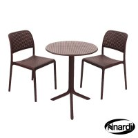 Nardi High Range Step Table with 2 Bistrot Chair Set Coffee