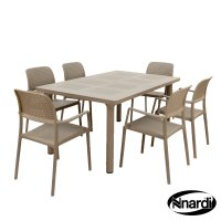 Nardi High Range Libeccio Table with 6 Bora Chair Set Turtle Dove