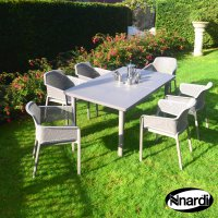 Nardi High Range Libeccio Table with 6 Net Chair Set Turtle Dove