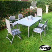 Nardi High Range Libeccio Table with 2 Darsena & 4 Bora Chair Set Turtle Dove