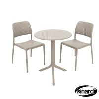 Nardi High Range Step Table with 2 Bistrot Chair Set Turtle Dove