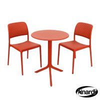 Nardi High Range Step Table with 2 Bistrot Chair Set Red