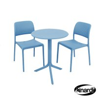 Nardi High Range Step Table with 2 Bistrot Chair Set Sky Blue