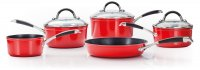 Stellar 3000 5 Piece Saucepan Set - Ruby Red