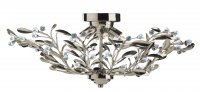 Searchlight Lima 6 Light Antique Brass Semi Flush Ceiling Light with Crystal Detail