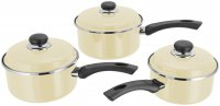 Judge Induction 3 Piece Saucepan Set (16/18/20cm) - Vanilla