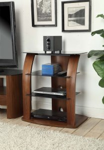 Jual Melbourne Entertainment Unit in Walnut & Black Glass