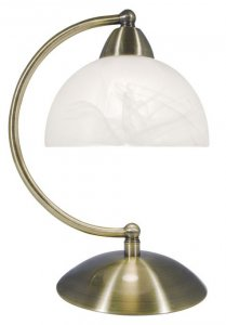 Dar Saxby Curved Arm Touch Desk Lamp Antique Brass