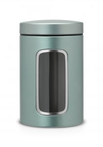 Brabantia 1.4 Litre Window Canister in Metallic Mint