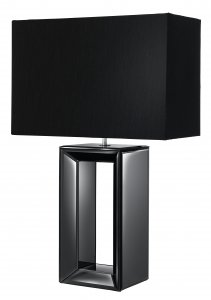 Searchlight Reflections Black Mirror Tall Table Lamp - Black Faux Silk Shade