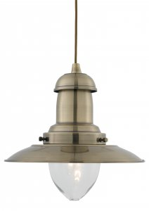 Searchlight Fisherman 1 Light Antique Brass Pendant