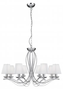Searchlight Andretti 8 Light Chrome Pendant with White String Shades