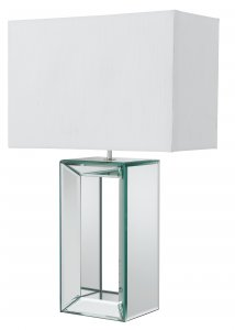 Searchlight Reflections Mirror Tall Table Lamp - White Faux Silk Shade