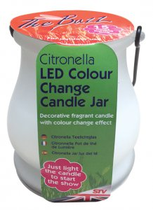 The Buzz Citronella LED Colour Change Candle Jar