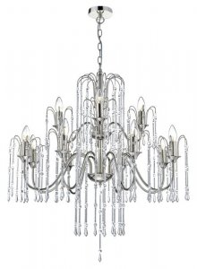 Dar Daniella 12 Light Pendant Polished Nickel With Chrome Rods And Crystal Beads