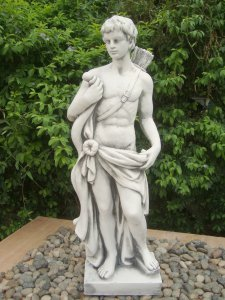 Solstice Sculptures Hector Hunter Boy 83cm White Stone Effect