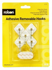 Rolson 5pc Removable Adhesive Metal Hooks