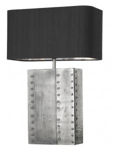 David Hunt Riveted Rectangular Table Lamp Pewter Base Only