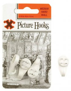 X Hardwall Medium Picture Hooks White x3