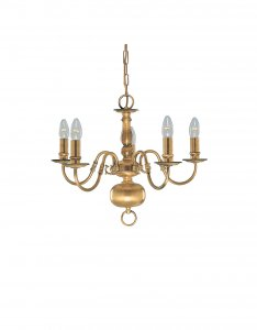 Searchlight 5 Light Antique Brass Flemish Fitting