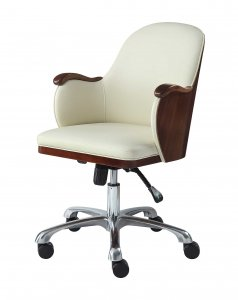 Jual San Francisco Executive Office Chair in Walnut & Cream Faux Leather