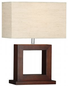 Searchlight Cosmopolitan 1 Light Dark Wood Square Table Lamp with Shade