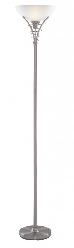 Searchlight Linea 1 Light Satin Silver Floor Lamp With
