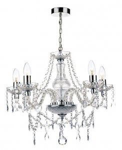 Dar Katie 5 Light Chandelier Polished Chrome Acrylic Glass