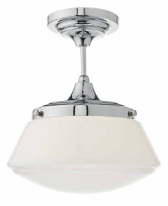 Dar Caden 1 Light Semi Flush Polished Chrome / Opal IP44