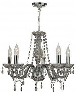 Searchlight Marie Therese 5 Light Smoked Grey Glass Chandelier